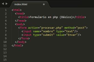 Crear un formulario en php