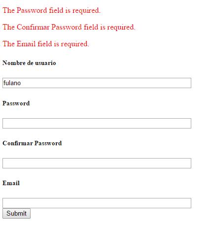 Validar un formulario en CodeIgniter