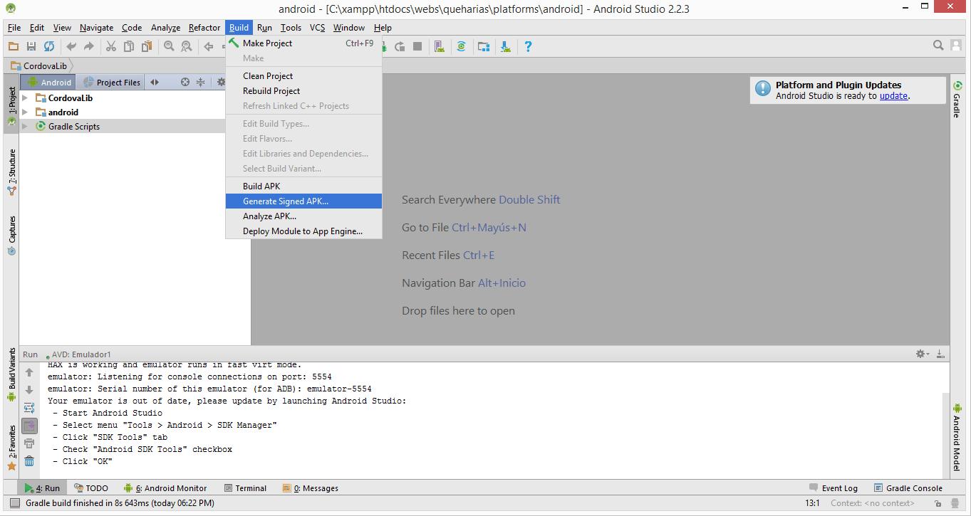 Generar APK Android Studio Menu